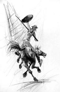Dessin de Marcel Nino Pajot, Don Quichotte contre les Géants